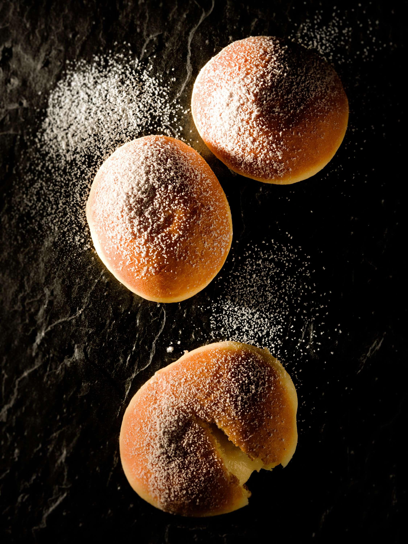 Krapfen mit Marzipan-Birnen-Füllung