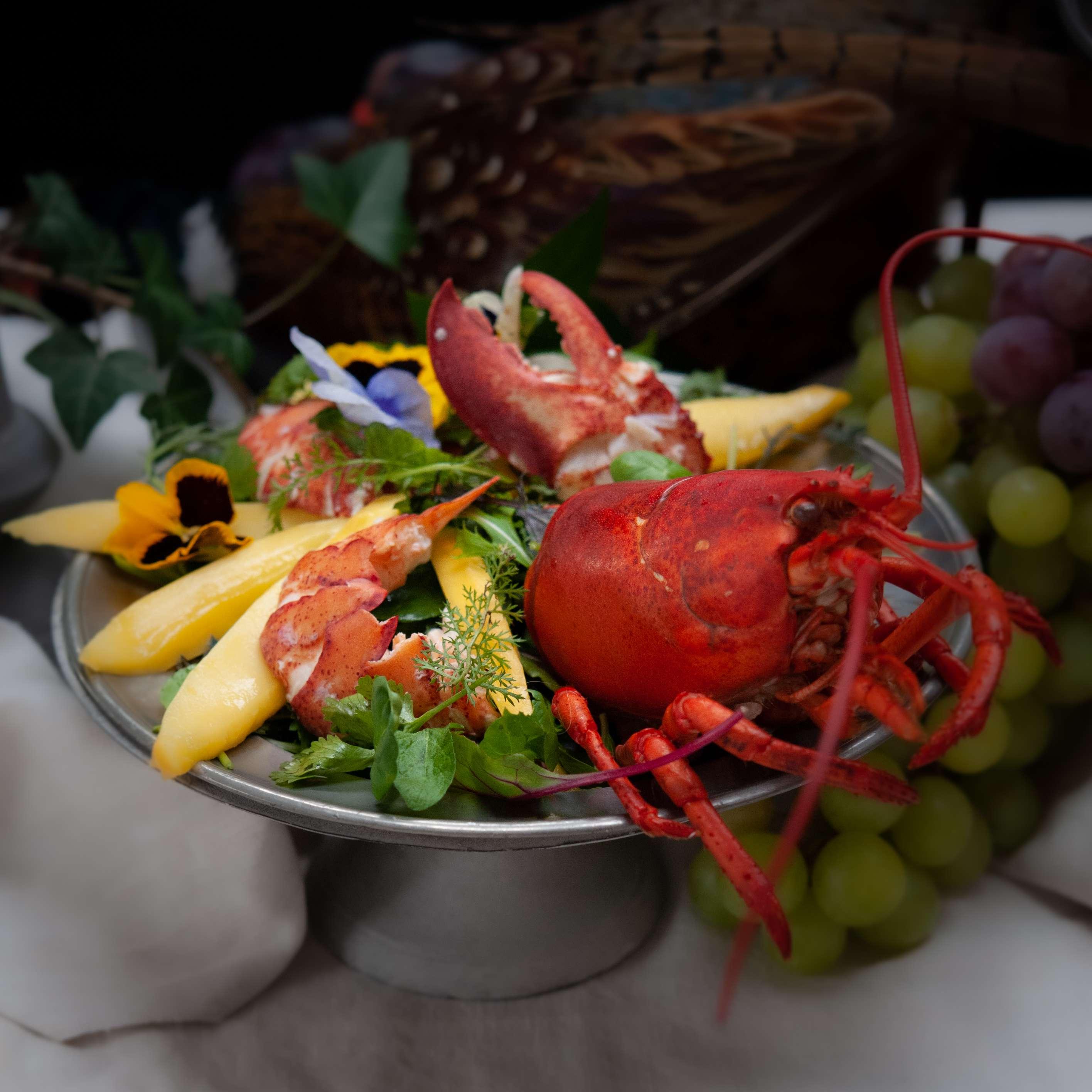 Wildkräutersalat mit Hummer und Orangenmayonnaise