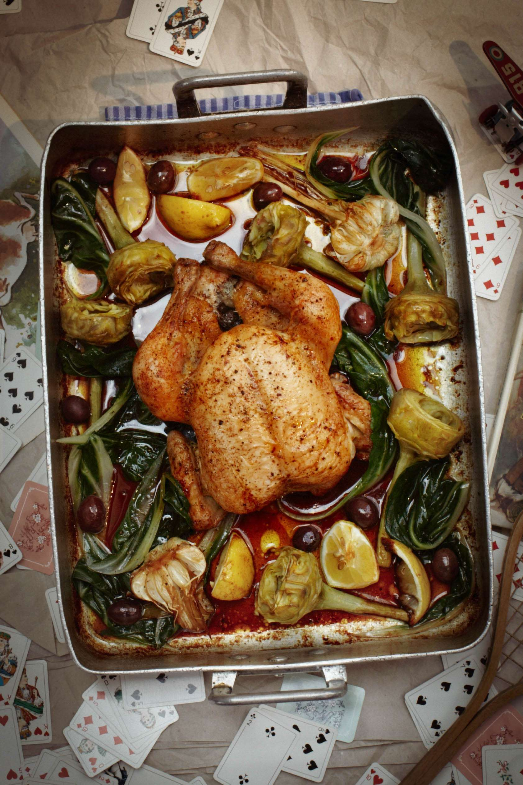 Huhn mit Mangold und Artischocken aus dem Ofen