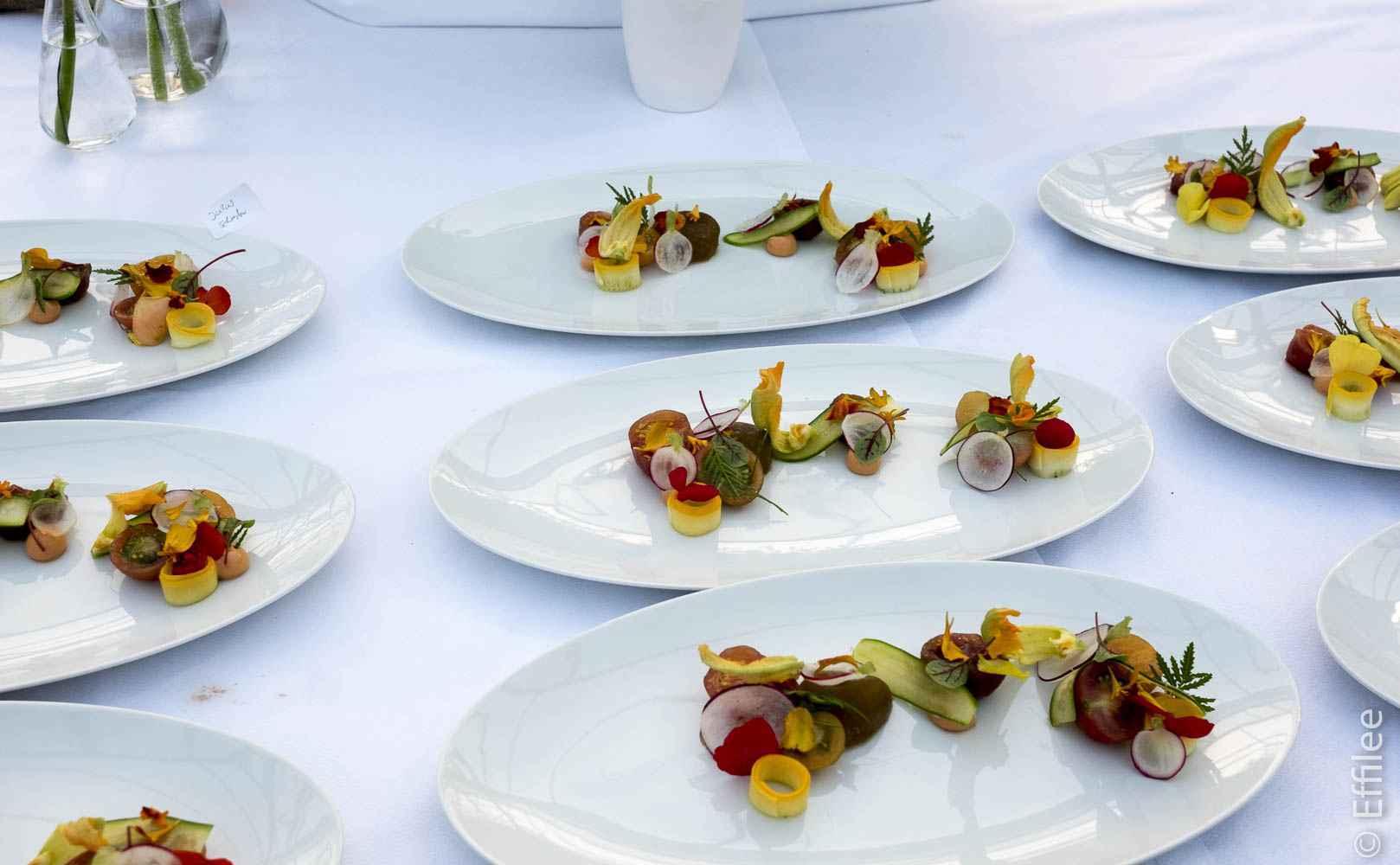 Tomaten, Holunderblüte, Tagetes, Shiso