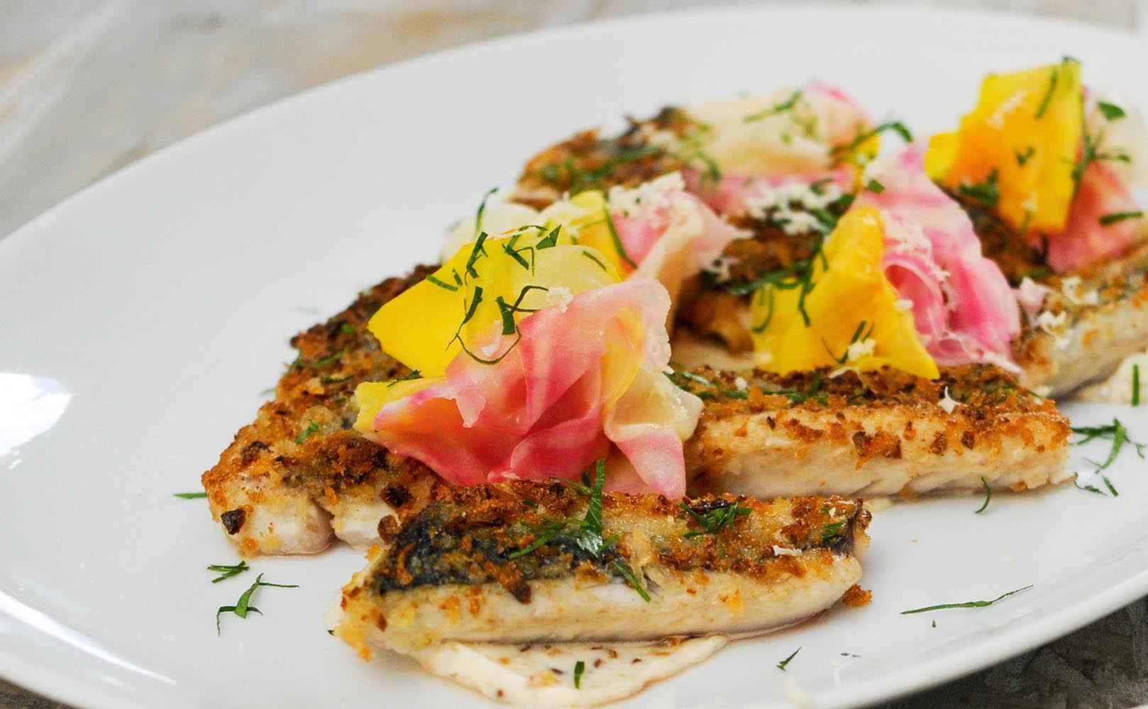 Rezept für Makrele gebacken – Röstzwiebelmayonnaise – marinierte Rüben