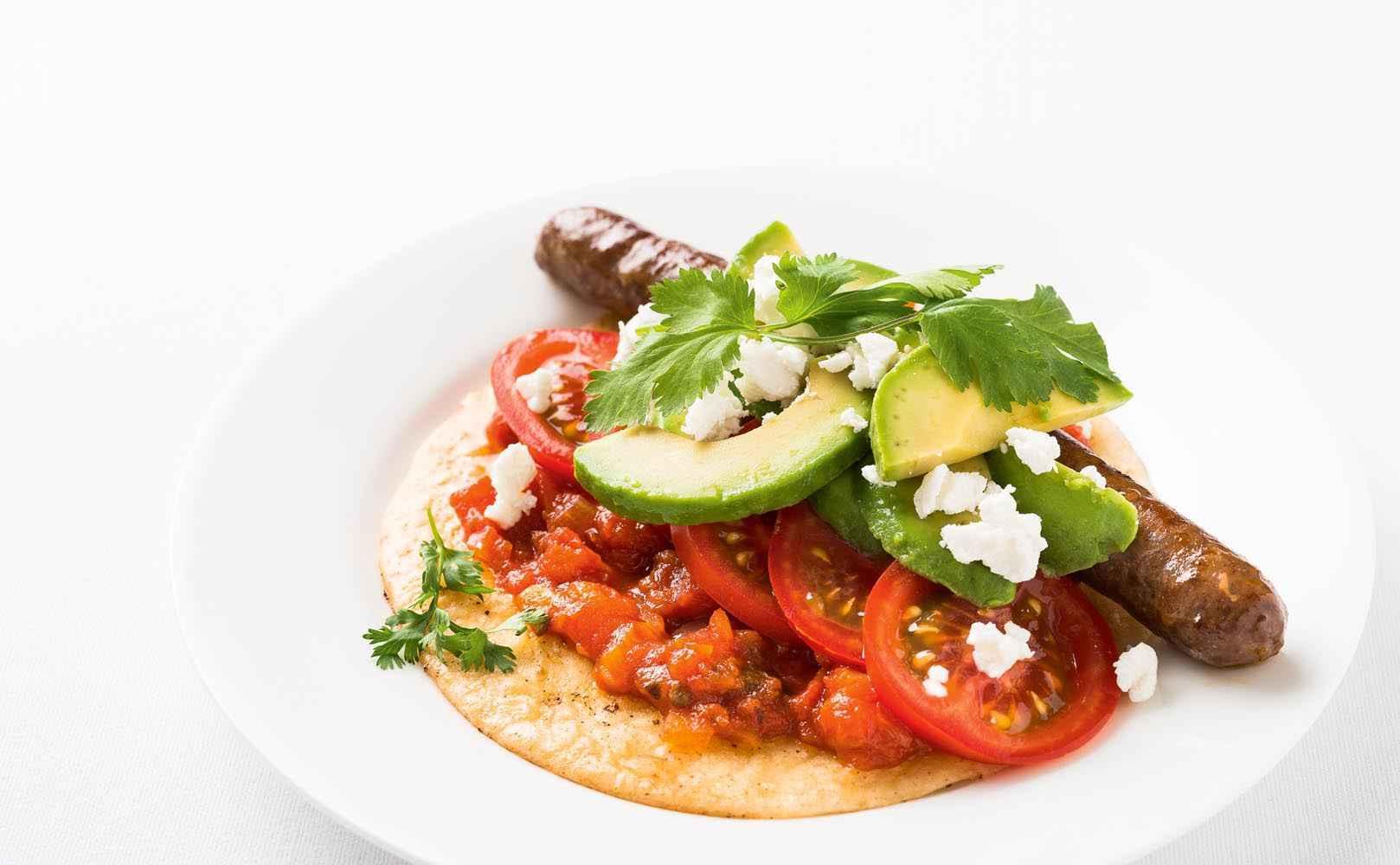 Rezept für Taco mit Chipotle-Tomatensalsa, Merguez und Ziegenfrischkäse