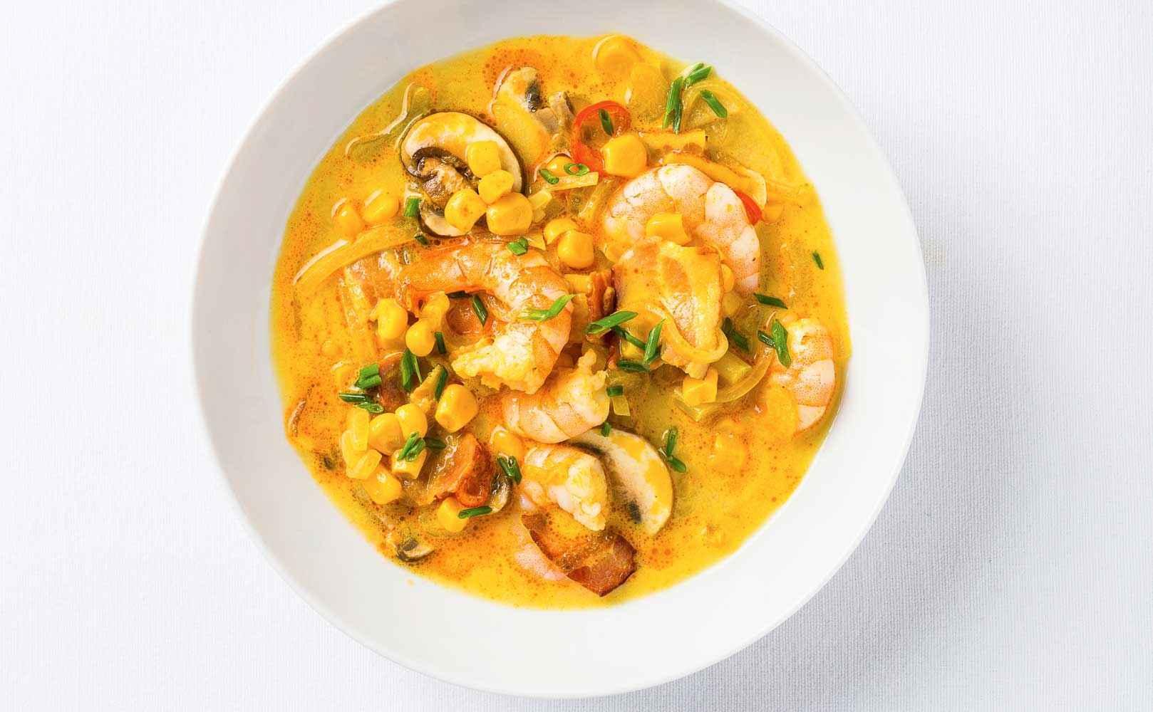 Rezept für Curry-Mais-Chowder mit Garnelen