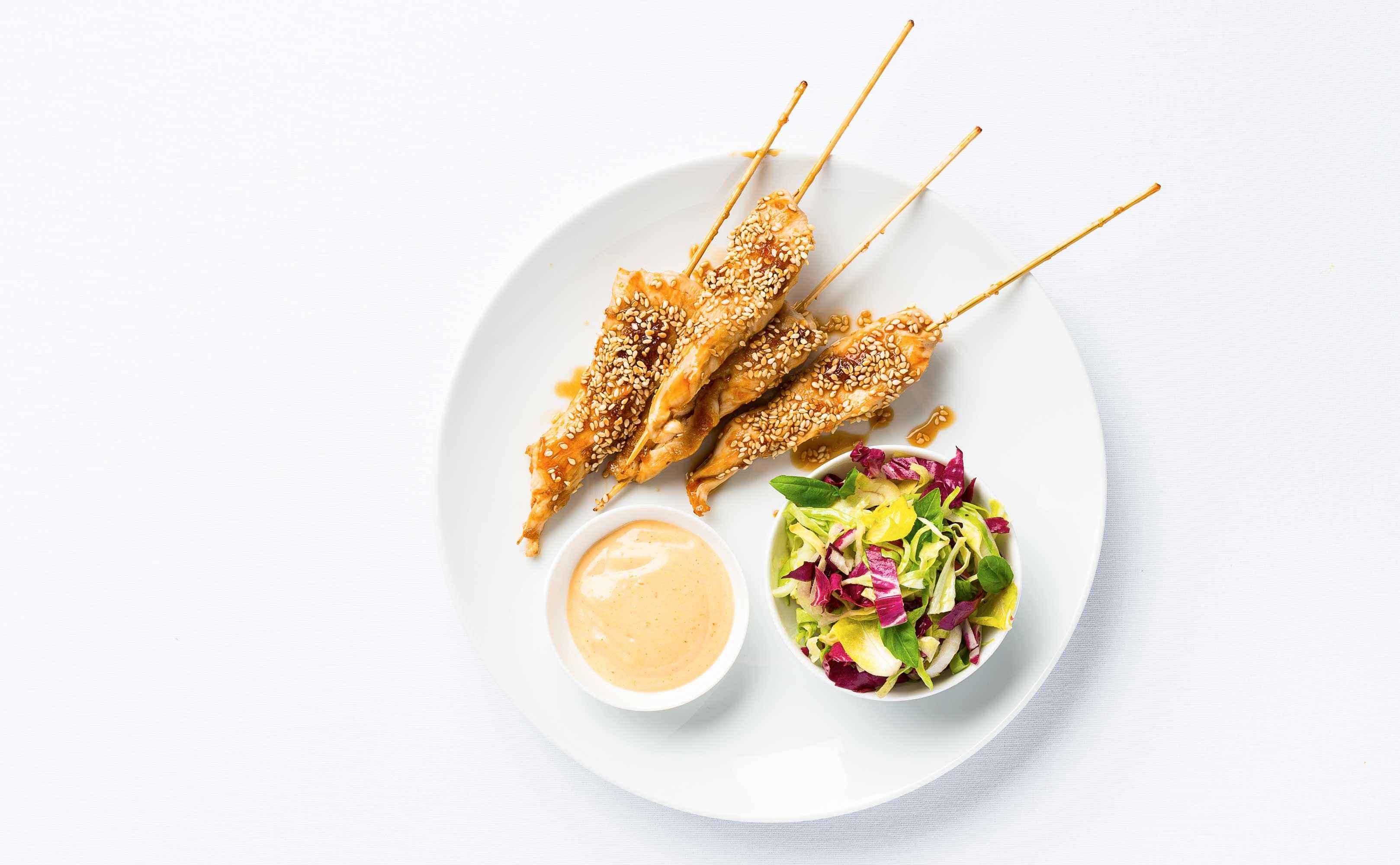 Rezept für Chicken-Teriyaki mit Sesam-Dip und Schnittsalat