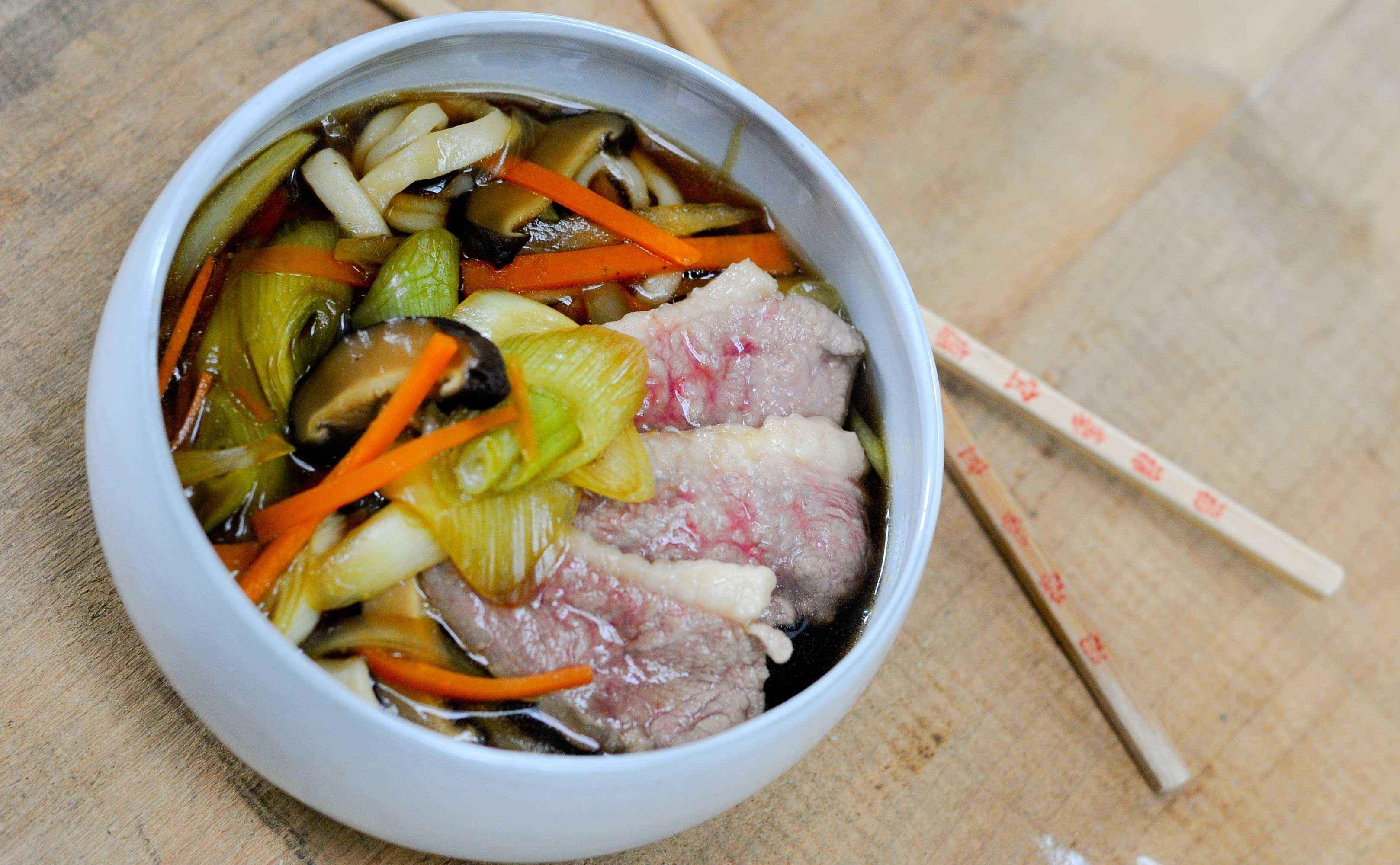 Rezept für Curry Kamo Namban Udon (Curry Udon mit Entenfleisch)