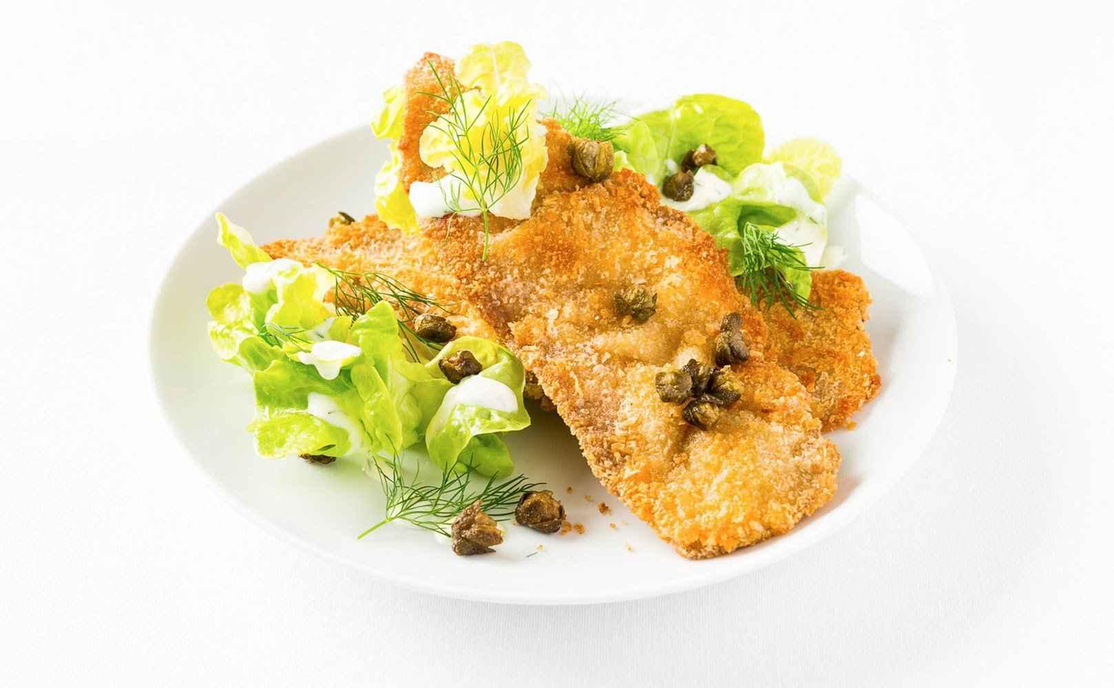 Rezept für Kaltes Braten-Knusperschnitzel mit frittierten Kapern