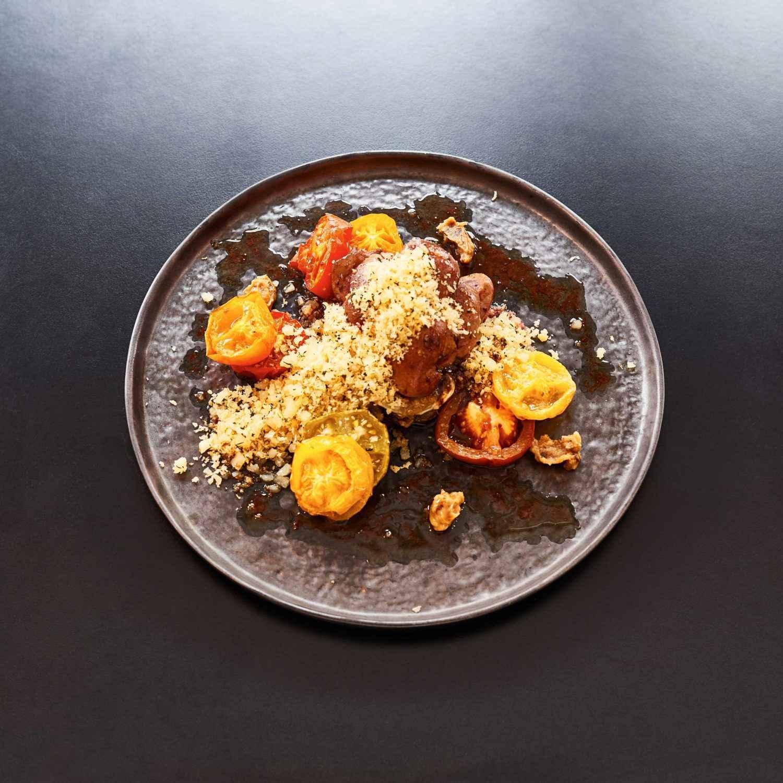 Go to Rezept für Kalbsnierchen mit gerösteten Tomaten und Auberginenpüree
