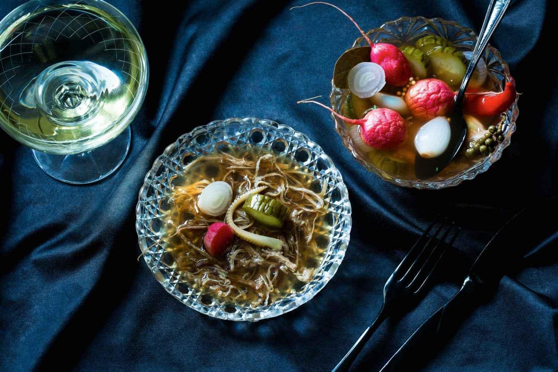 Go to Rezept für Schweineschwänze – Madeiragelee – Mixed Pickles