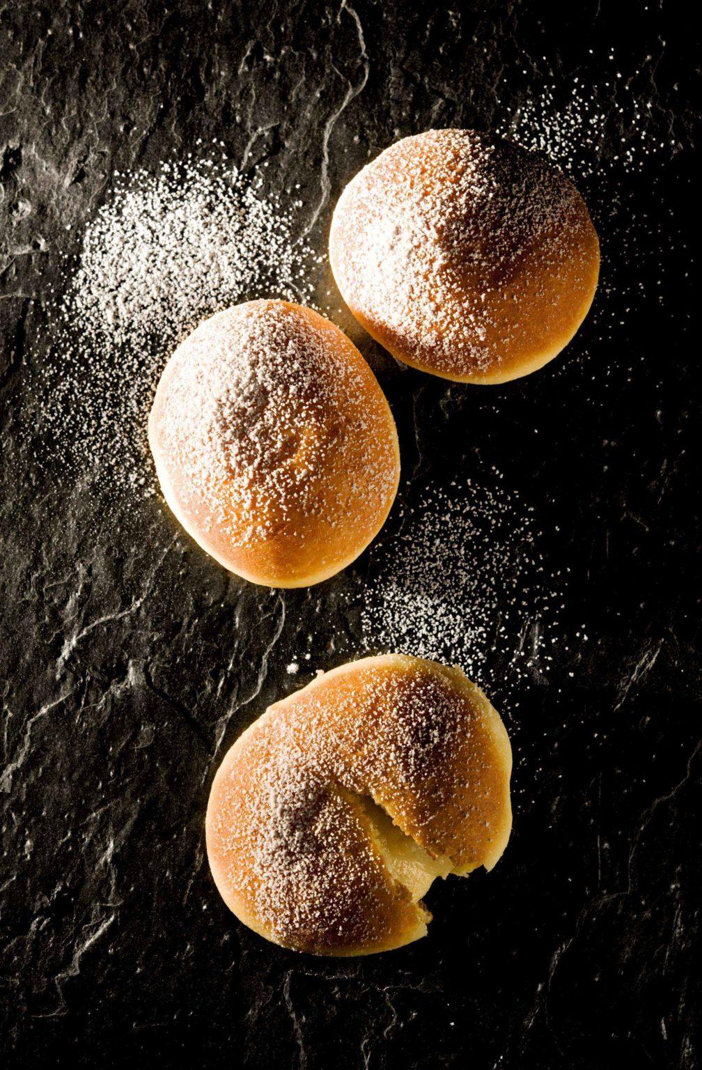 Rezept für Krapfen mit Marzipan-Birnen-Füllung