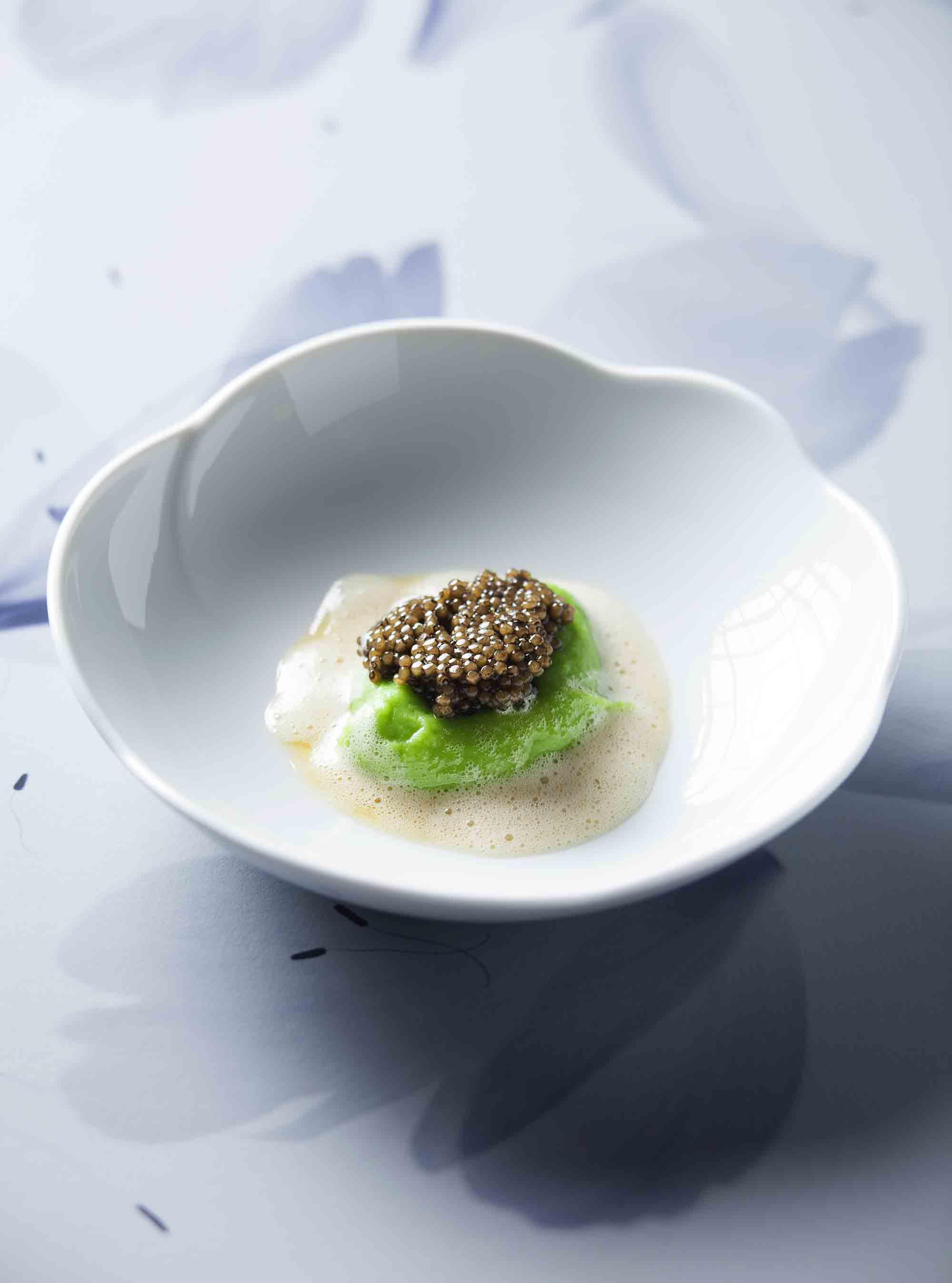 Kartoffel-Lauch-Püree mit Kaviar