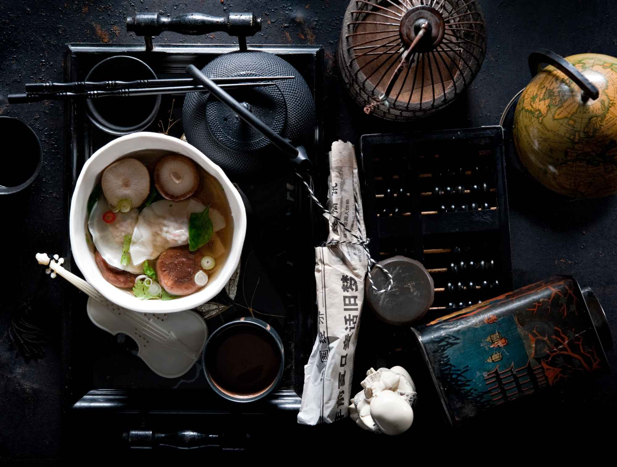 Garnelen-Wan-Tan-Suppe mit Shiitake