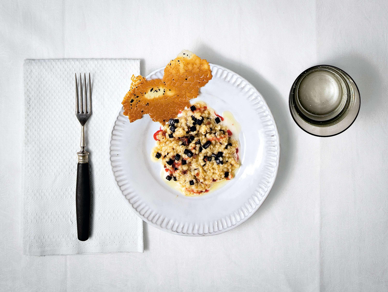 Graupenrisotto mit Kartoffelchip