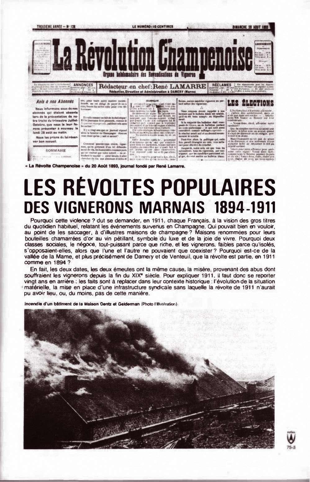 Zeitung von 1911, Revolte in der Champagne