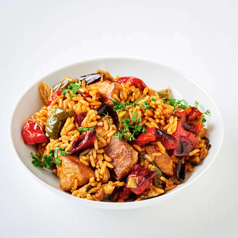 Reisfleisch mit Ofengemüse