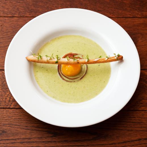 Go to Sauerampfersuppe mit Grissini und Onsen-Ei