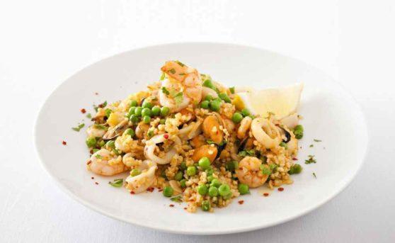 Bulgur-Meeresfrüchte-Paella