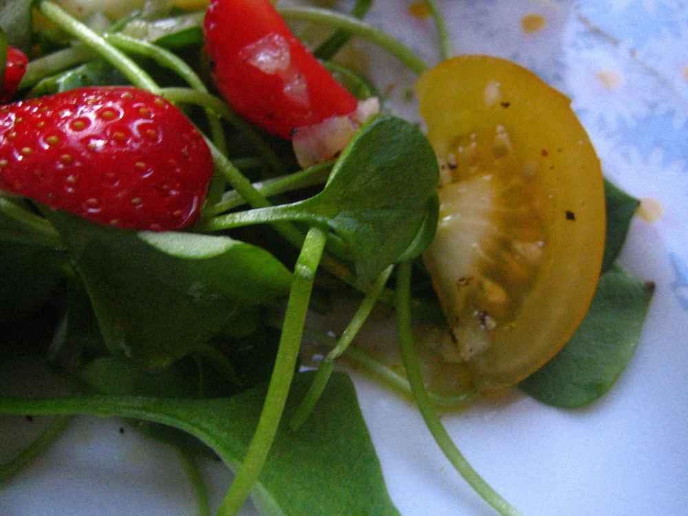 Portulak mit Erdbeeren und gelben Tomaten