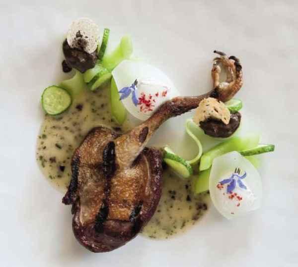 Taube aus dem Holzkohleofen mit Olivensauce und Gurke