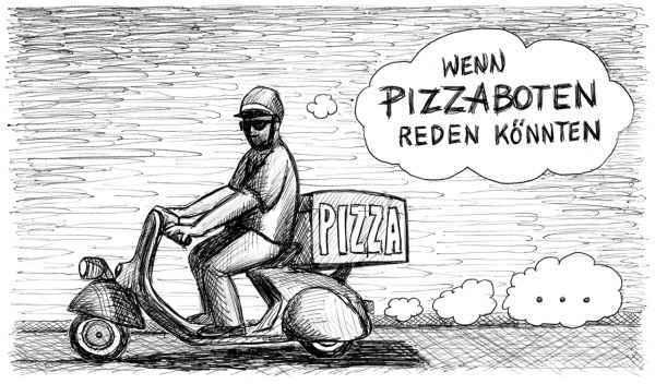Ich wollte mich auf die Suche machen nach den Pizzalieferanten und ihren Geschichten. Aber die Probanden, denen ich in den geschäftigen Teilen Hamburgs auflauerte, waren extrem kurz angebunden. Ich hatte das Gefühl, sie einfach nur zu stören, und man soll ja erwachsene Menschen nicht mit kindischen Fragespielen von der Arbeit abhalten.  Also habe ich innerhalb von zwei Stunden meine Telefonnummer so freizügig verteilt wie noch nie zuvor. Auch dabei ließ mich das Gefühl nicht los: Pizzaboten wollen liefern und nicht labern. Nach Tagen ohne Rückruf wollte ich beleidigt aufgeben und mir einfach eine Pizza bestellen. Dann geschah ganz zaghaft doch noch ein Wunder …