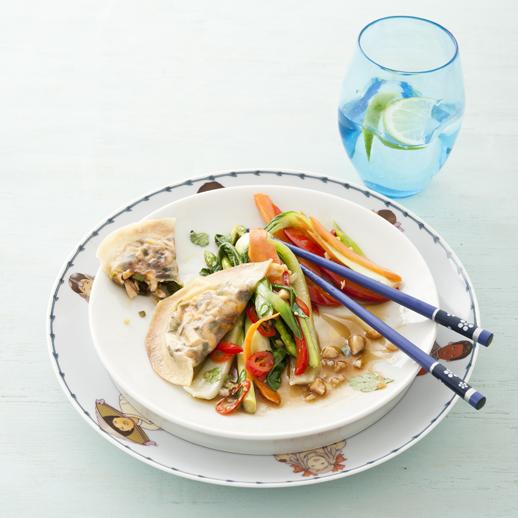 Shiitake-Taschen mit Wokgemüse